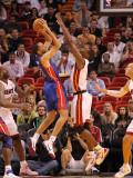 Detroit Pistons v Miami Heat: Tayshaun Prince and Chris Bosh Photographic Print by Mike Ehrmann