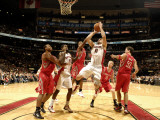 Houston Rockets v Toronto Raptors: Linas Kleiza and Brad Miller Photographic Print by Ron Turenne