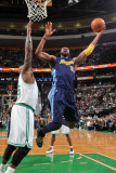 Denver Nuggets v Boston Celtics: Nene and Shaquille O&#39;Neal Photographic Print by Brian Babineau