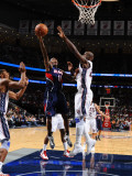 Atlanta Hawks v New Jersey Nets: Jamal Crawford and Johan Petro Photographic Print by Jesse D. Garrabrant