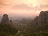 The Roussanou Monastery on One of the Meteora Peaks and the Valley Photographic Print by Richard Nowitz