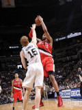 Portland Trail Blazers v San Antonio Spurs: LaMarcus Aldridge and Matt Bonner Photographic Print by D. Clarke Evans