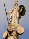 A Statue of Athena on a Column Outside the Academy of Athens Fotografisk tryk af Richard Nowitz