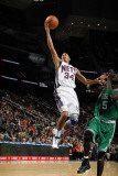 Boston Celtics v New Jersey Nets: Devin Harris and Kevin Garnett Photographic Print by Nathaniel S. Butler