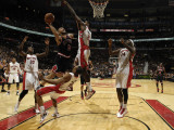 Chicago Bulls v Toronto Raptors: Ed Davis, Carlos Boozer, DeMar DeRozan, Amir Johnson and Julian Wr Photographic Print by Ron Turenne