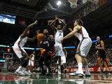 Miami Heat v Milwaukee Bucks: Dwyane Wade, Larry Sanders, John Salmons and Andrew Bogut Photographic Print by Jonathan Daniel