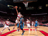Orlando Magic v Portland Trail Blazers: Mickael Pietrus and Nicolas Batum Photographic Print by Sam Forencich