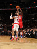 Philadelphia 76ers v Toronto Raptors: Jrue Holiday and Jerryd Bayless Photographic Print by Ron Turenne