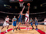 Golden State Warriors v Portland Trail Blazers: David Lee and Andre Miller Photographic Print by Sam Forencich