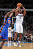 New York Knicks v Denver Nuggets: Chauncey Billups and Timofey Mozgov Photographic Print by Garrett Ellwood