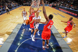 Philadelphia 76ers v New Jersey Nets: Devin Harris, Spencer Hawes and Elton Brand Photographic Print by David Dow