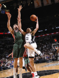 Milwaukee Bucks v San Antonio Spurs: Manu Ginobili and Andrew Bogut Photographic Print by D. Clarke Evans
