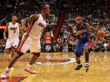Detroit Pistons v Miami Heat: Richard Hamilton and LeBron James Photographic Print by Mike Ehrmann
