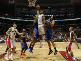 New York Knicks v Toronto Raptors: Amir Johnson, Amar'e Stoudemire and Landry Fields Photographic Print by Ron Turenne