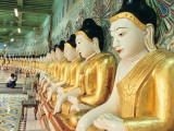 Buddha Statues at the Onhmin Thonze Pagoda Photographic Print by Alison Wright