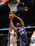 Atlanta Hawks v San Antonio Spurs: Jason Collins and Tim Duncan Photographic Print by D. Clarke Evans