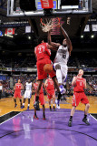 Houston Rockets v Sacramento Kings: Samuel Dalembert and Jordan Hill Photographie par Rocky Widner