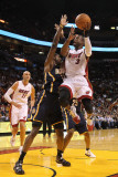 Indiana Pacers v Miami Heat: Dwyane Wade and Roy Hibbert Photographic Print by Mike Ehrmann