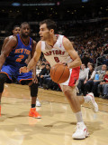 New York Knicks v Toronto Raptors: Jose Calderon and Raymond Felton Photographic Print by Ron Turenne