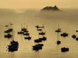 Louet Island in the Fog and Moored Fishing Boats Photographic Print by Jim Richardson