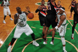 Portland Trail Blazers v Boston Celtics: Paul Pierce, Shaquille O'Neal and Marcus Camby Photographic Print by Brian Babineau