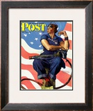 """Rosie the Riveter"" Saturday Evening Post Cover, May 29,1943 Framed Giclee Print by Norman Rockwell"