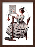 """Needlepoint"", March 1,1924 Framed Giclee Print by Norman Rockwell"