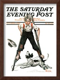 """Boy on Stilts"" Saturday Evening Post Cover, October 4,1919 Framed Giclee Print by Norman Rockwell"