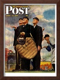 """Bottom of the Sixth""  (Three Umpires) Saturday Evening Post Cover, April 23,1949 Framed Giclee Print by Norman Rockwell"