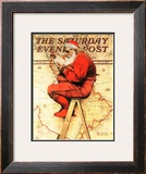 """Santa at the Map"" Saturday Evening Post Cover, December 16,1939 Framed Giclee Print by Norman Rockwell"