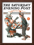 """Circus"" or ""Meeting the Clown"" Saturday Evening Post Cover, May 18,1918 Framed Giclee Print by Norman Rockwell"