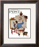 """Triple Self-Portrait"" Saturday Evening Post Cover, February 13,1960 Framed Giclee Print by Norman Rockwell"