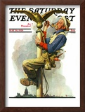 """Gilding the Eagle"" or ""Painting the Flagpole"" Saturday Evening Post Cover, May 26,1928 Framed Giclee Print by Norman Rockwell"