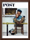 """""""Lion and His Keeper"""" Saturday Evening Post Cover, January 9,1954 Framed Giclee Print by Norman Rockwell"""