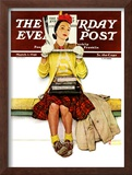 """Cover Girl"" Saturday Evening Post Cover, March 1,1941 Framed Giclee Print by Norman Rockwell"