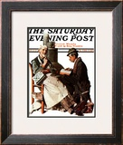 """Crossword Puzzle"" Saturday Evening Post Cover, January 31,1925 Framed Giclee Print by Norman Rockwell"