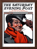 """Merrie Christmas"" Saturday Evening Post Cover, December 3,1921 Framed Giclee Print by Norman Rockwell"