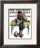 """Bookworm"" Saturday Evening Post Cover, August 14,1926 Framed Giclee Print by Norman Rockwell"