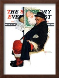 """See Him at Drysdales"" (Santa on train) Saturday Evening Post Cover, December 28,1940 Framed Giclee Print by Norman Rockwell"