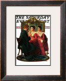 """Man Courting Two Sisters"" Saturday Evening Post Cover, May 4,1929 Framed Giclee Print by Norman Rockwell"