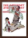 """Pharmacist"" Saturday Evening Post Cover, March 18,1939 Framed Giclee Print by Norman Rockwell"