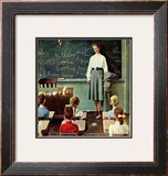 """Happy Birthday, Miss Jones"" Saturday Evening Post Cover, March 17,1956 Framed Giclee Print by Norman Rockwell"