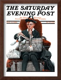 """Dog in Basket"" or ""Stowaway"" Saturday Evening Post Cover, May 15,1920 Framed Giclee Print by Norman Rockwell"