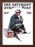 """""""Man and Dog"""" or """"Pals"""" Saturday Evening Post Cover, September 27,1924 Framed Giclee Print by Norman Rockwell"""