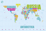 WORLD MAP IN WORDS Prints