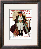 """""""Merrie Christmas"""" or Muggleston Coach Saturday Evening Post Cover, December 17,1938 Framed Giclee Print by Norman Rockwell"""