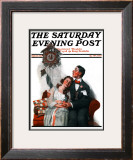 """Courting under the Clock at Midnight"" Saturday Evening Post Cover, March 22,1919 Framed Giclee Print by Norman Rockwell"