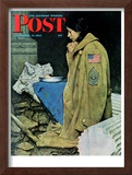 """Refugee Thanksgiving"" Saturday Evening Post Cover, November 27,1943 Framed Giclee Print by Norman Rockwell"