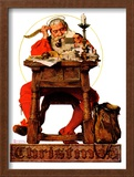"""Santa at His Desk"", December 21,1935 Framed Giclee Print by Norman Rockwell"