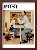 """At the Optometrist"" or ""Eye Doctor"" Saturday Evening Post Cover, May 19,1956 Framed Giclee Print by Norman Rockwell"